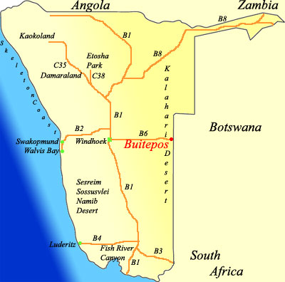 Map showing Buitepos Namibia