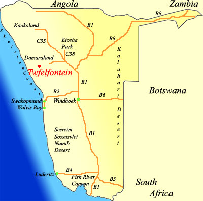 map of twfelfontein namibia