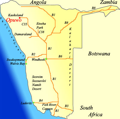 map of Opuwo Namibia
