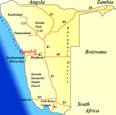 map of Karabib Namibia