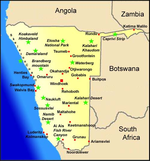 Namibia Map And Weather Information Namibia Travel Booking Service - Namibia map