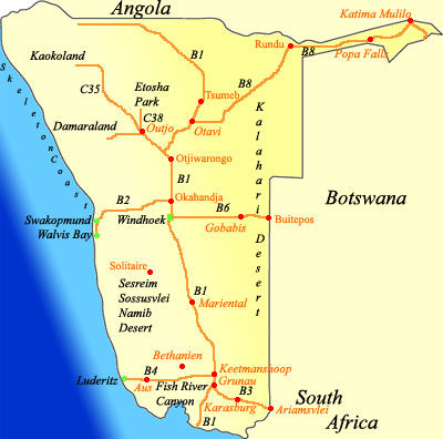 stopover map of Namibia