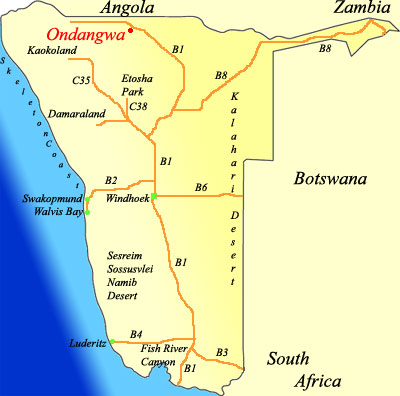 map of Ondangwa  namibia