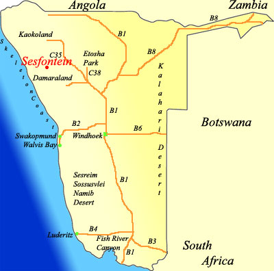 map of Sesfontein Namibia