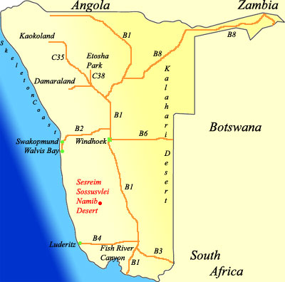 map of Sesreim Namibia