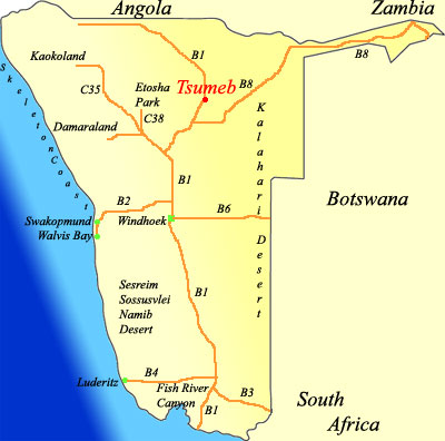 map of Tsumeb  Namibia
