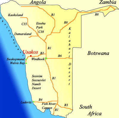 map of Usakos Namibia